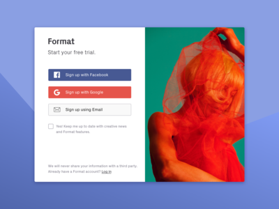 Format Sign up Concept