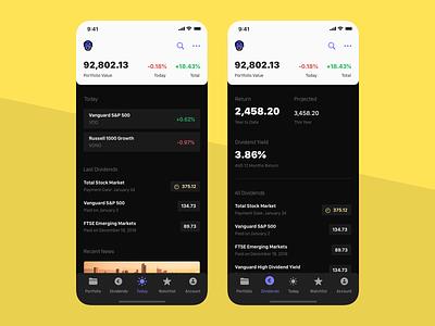 Fernand - Today & Dividends dashboard money investments vanguard stocks etf finance app design ios iphone app