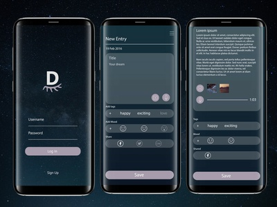 UI Challenge - Dream App dream ux app daily ui challenge design
