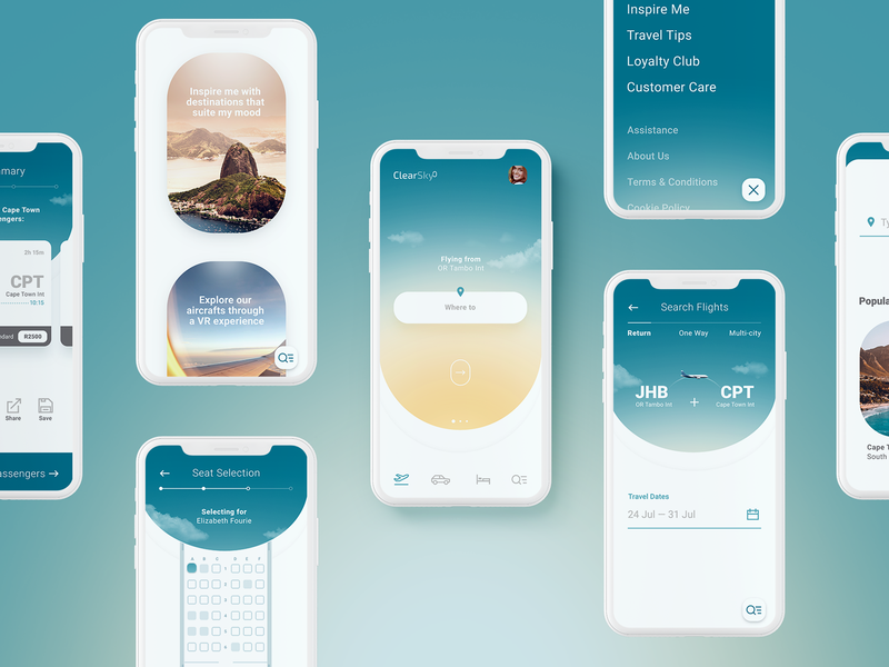 Clear Sky Airlines - Mobile App logo app design product design brand and identity ux interaction design ui