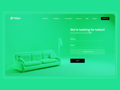 Contact Form Concept couch green cv contact form contact concept design 3d ilustration 3d modeling 3d illustration design bright colors uiux ux ui