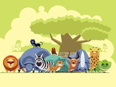 group of safari animals graphicdesign cartoonillustration vectordrawing vectorgraphics vectorart vectorillustration vector artwork vector illustrator illustration graphics graphic design graphicart digitaldrawing design character art character cartoon art adobe illustrator