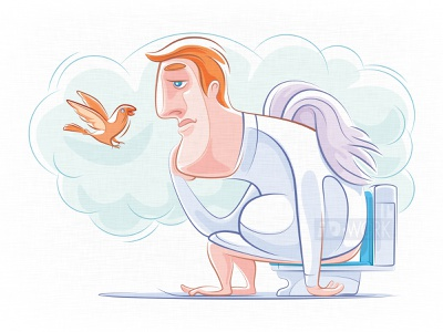 winged middle aged man sitting on toilet bowl and thinking drawing vectorgraphics cartoonillustration digitaldrawing vectorillustration character art vectorart graphicart vector artwork vector graphic design vector drawing vector illustration illustrator design cartoon illustration graphics character art