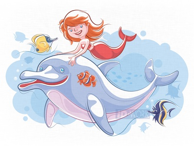 mermaid meeting dolphin and tropical fishes digitaldrawing character art vector graphics graphic design lines drawing vector illustration vector drawing vector drawing design illustrator cartoon graphics art character illustration artwork dolphin mermaid cartoon character