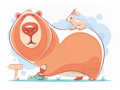 bear catching tortoise with rabbit vector digital  drawing vector artwork cartoon illustration artwork character art cartoon character animals graphic design vector drawing lines drawing drawing vector illustration illustrator design cartoon illustration graphics character art