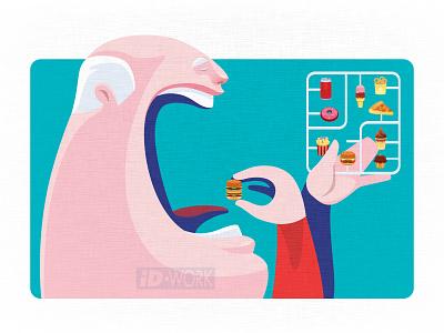 senior man eating hamburger from junk food model kit set cartoonillustration vector drawing artwork branding graphicart vectorillustration character art vector artwork vectorart vector motion graphics logo art illustrator design graphics cartoon illustration character graphic design