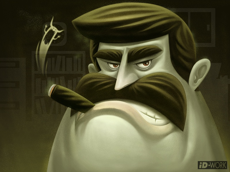 angry boss with cigar emitting evil smoke by id-work illustration ...
