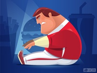 vector illustration of fat man stretching