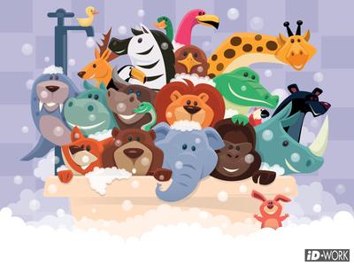 group of wild animals bathing