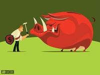 Armed businessman defending evil piggy bank