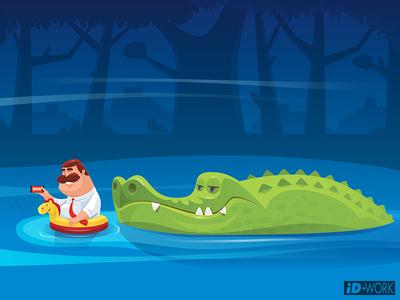 crocodile looking at businessman who is floating on river attraction businessman crocodile vectorgraphics vectorart vectorillustration vector artwork vector illustrator illustration graphics graphic design graphicart digitaldrawing design character art character cartoon art adobe illustrator