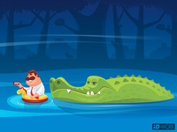 crocodile looking at businessman who is floating on river