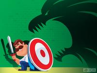 armed businessman defending monster shadow