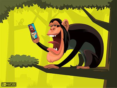 chimpanzee video chatting with caveman cartoonillustration cartoon illustration chimpanzee vectorgraphics vectorart vectorillustration vector artwork vector illustrator illustration graphics graphic design graphicart digitaldrawing design character art character cartoon art adobe illustrator