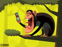 chimpanzee video chatting with caveman
