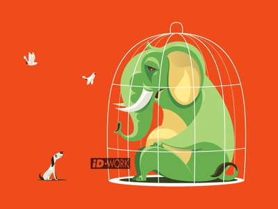 caged elephant communicating with dog cartoonillustration elephant concept art vectorgraphics vectorart vectorillustration vector artwork vector illustrator illustration graphics graphic design graphicart digitaldrawing design character art character cartoon art adobe illustrator
