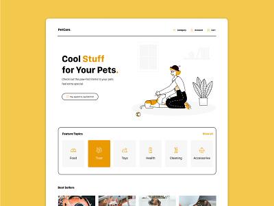 Pet Shop Minimalism creative design colors landingpage webdesign web uidesign petcare pet minimalism