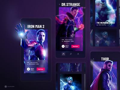 Movie App - MVP marvel marvel studios branding dark ui dark app movie app movie app graphic ux ui mvp design