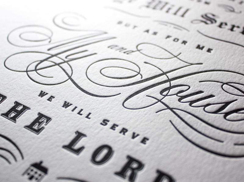 Letterpress detail – Joshua 24:15 verse bible vintage flourish ornamental letters deboss print lord script typography letterpress