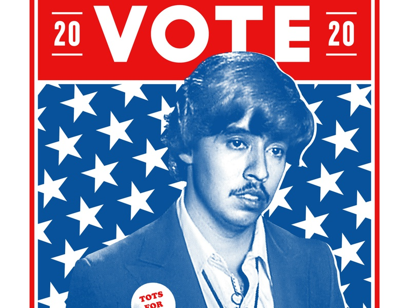 Vote For Pedro Poster halftone star trump 2020 politics president tater tots ballot democracy pedro napoleon voting candidate election