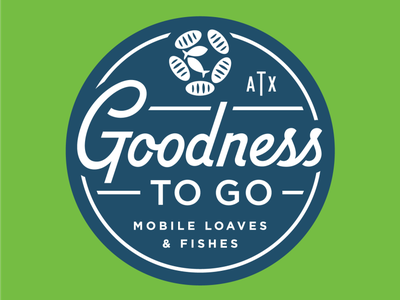 Goodness To Go Logo loaves fish bread circles crest charity badge shield typography identity branding logo food