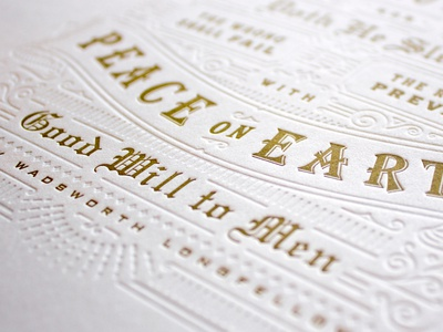 Then Pealed the Bells Letterpress type design blind deboss embossed gold print goodwill religion peace bells typography letterpress christmas