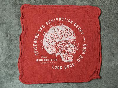 GSD&MOLITION derby shop rag destruction kill speed death gsdm derby demolition flames helmet tiger rag shop