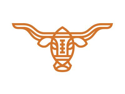 Longhorns & Pigskins horns monoline orange pigskin logo sports university ut texas cattle longhorn football