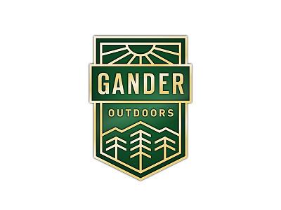 Gander Outdoors Logo adventure brand manly rugged green gold shield mountain gander logo tree outdoors