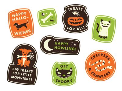 Spooky Pet Stickers candy snake howling fun bones dog cat fish pet stickers halloween spooky