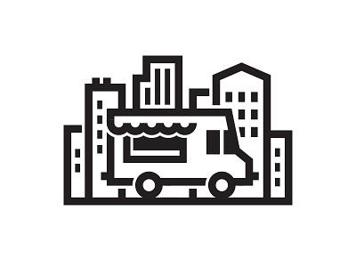 Street Food Logo vendor bold buildings downtown urban city white black truck food street logo