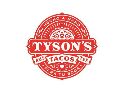 Tyson's Tacos Logo filigree food seal identity branding logo restaurant texas austin tacos