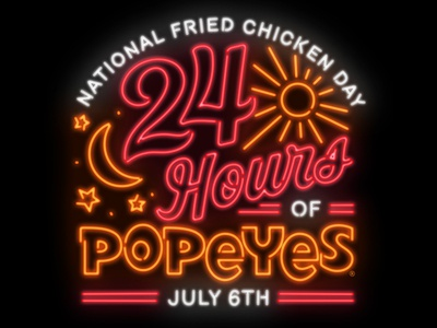 National Fried Chicken Day Neon restaurant july hours 24 stars moon sun sign neon chicken fried national