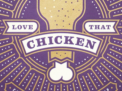 Love that chicken fleur de lis anniversary poster convention franchise starburst banner metallic new orleans chicken restaurant popeyes