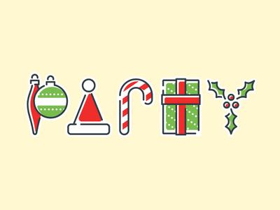 Christmas Party navidad line art illustration xmas festive announcement season ornaments santa holly present candy cane typography holidays party christmas