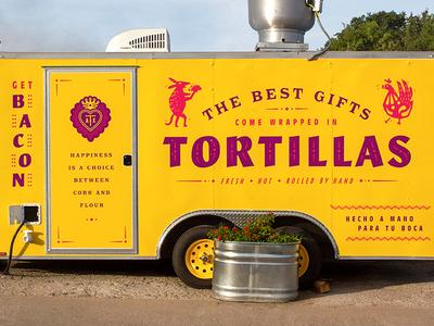 Tyson's Tacos Trailer branding tortillas bright typography food truck food austin trailers restaurant tacos trailer