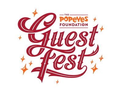 Guest Fest Logo vintage festival fest guest spurs ligature popeyes party sparkles logotype logo typogaphy
