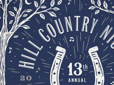 Hill Country Nights Poster benefit typography illustration texas austin gig poster music tree leaves poster lucky horseshoe