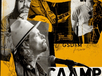 Caamp Poster gig poster musician distressed texture trio singer band banjo microphone gritty music poster