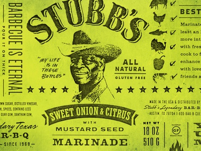 Stubbs BBQ label