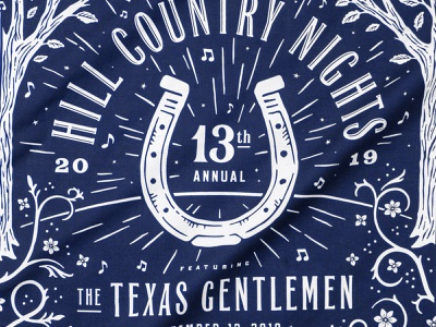 Hill Country Nights Bandana fundraiser concert music leaves star burst flowers typography bandana nights country hill horseshoe trees