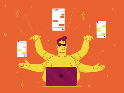 Happy Monday customer service character design character textures branding fourplus brand mascot brand illustration design procreate digital illustration illustration