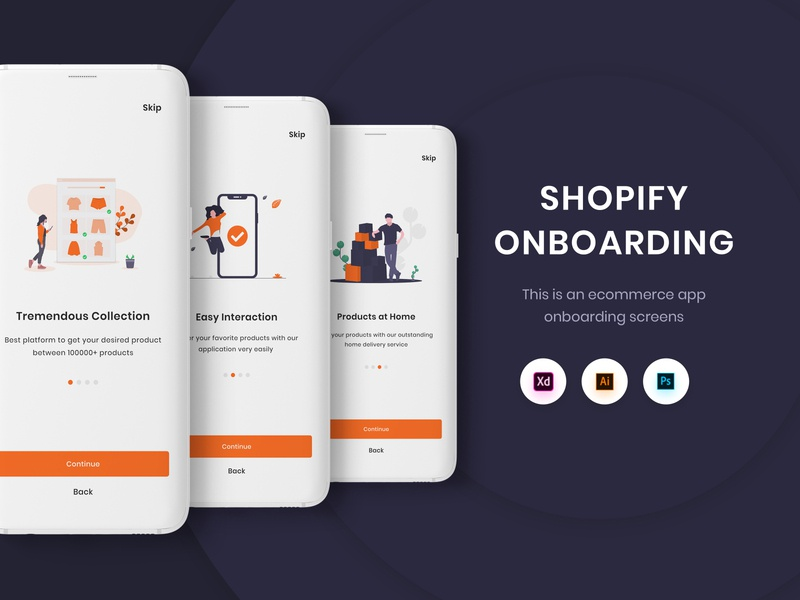 Ecommerce Onboarding Ui Kits shopping app ecommerce app ecommerce shopify app design ux design ui design ui interface design onboarding ui onboarding