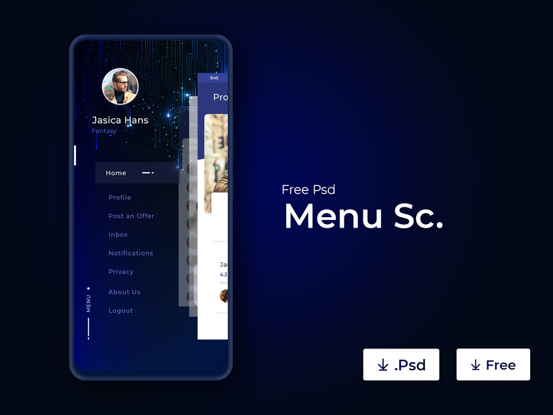 Menu Screen - UI App Concept creative  design design modern attractive minimal app designer app design user interface ui user experience ux ui ux ui ux design app concept ux design white space clean interface design ui ui design blue colorful