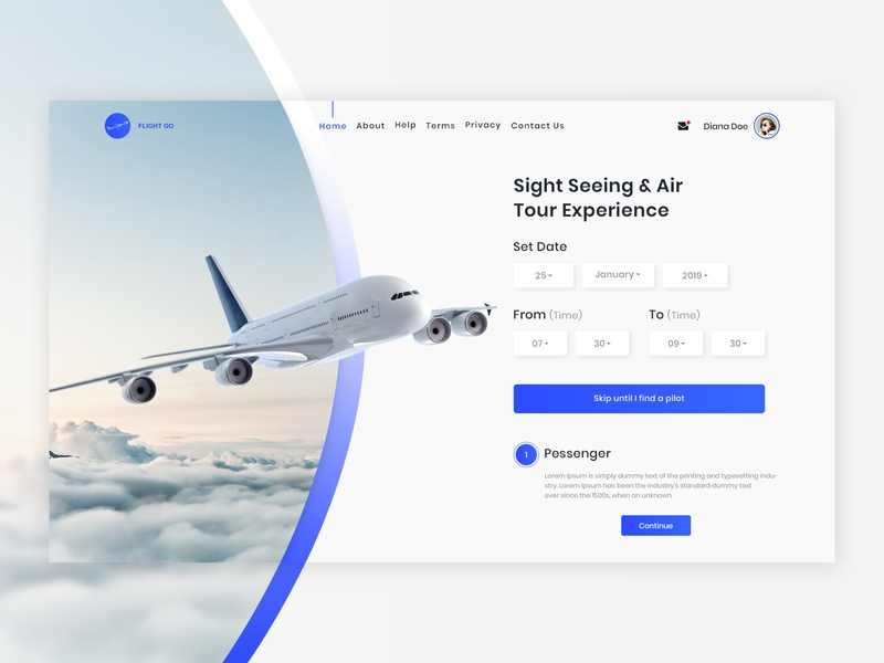 Flight Go - Timing landing page template design website logo webdesign web design blue ui  ux ux design ui design ui interface design flight booking flight app