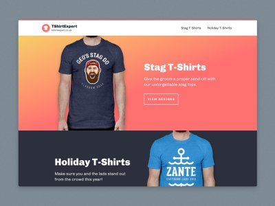 tshirtexpert.co.uk desktop web development front-end uk clean ui gradient colourful website design t-shirts ui website homepage landing page web design