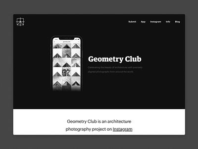 geometryclub.org ui homepage simple minimalism web development web geometry iphone instagram photography architecture black and white minimal web design landing page website design