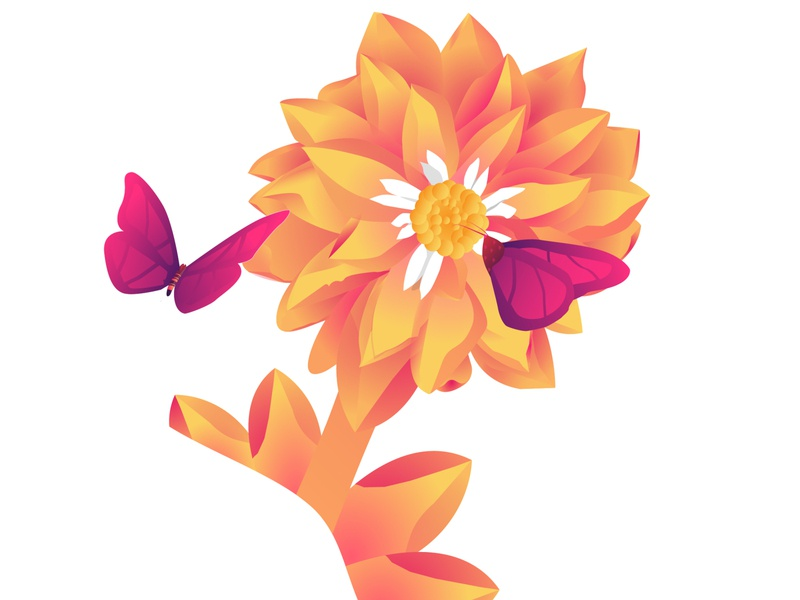 Golden Flower Illustration graphic butterfly editorial designs digital creative brand art 3d art icon design branding ui animation animated vector logo app illustration flower illustration