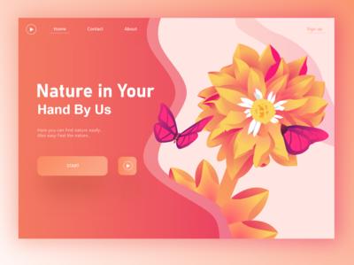 Nature In hand. Home page. web design illustrator animation animated illustration design ui vector flat 3d branding website app digital illustration logo digital art home screen homepage website design