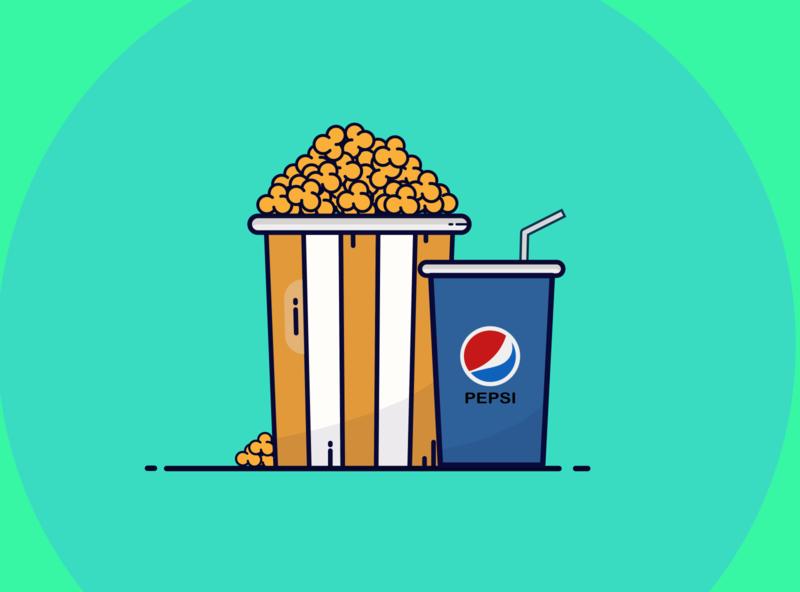 Popcorn illustration icon character design print art flat website design popcorn painting digital illustration digital illustrator design branding animation ui animated logo illustration app vector